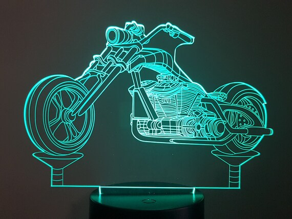 MOTORCYCLE CHOPPER - Mood lamp 3D led, laser engraving on acrylic, usb cable or battery power.