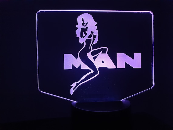 MAN + girl truck-led 3D ambient lamp, laser engraving on acrylic, battery power or USB cable.