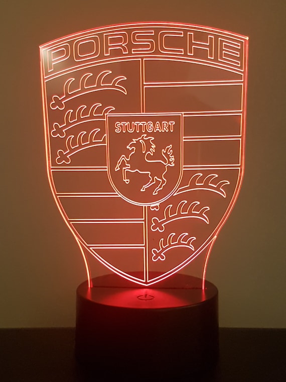 PORSCHE - Mood lamp 3D led, laser engraving on acrylic, power by USB cable or batteries