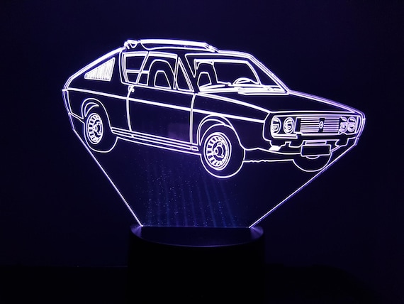 RENAULT R17 TS - Mood lamp 3D led, laser engraving on acrylic, power by USB cable or batteries