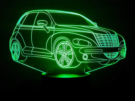 CHRYSLER PT CRUISER - Mood lamp 3D led, laser engraving on acrylic, usb cable or battery power.