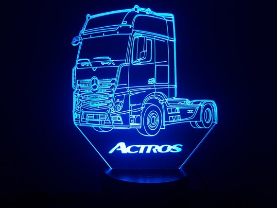 TRUCK MERCEDES ACTROS - Mood lamp 3D led, laser engraving on acrylic, usb cable or battery power.