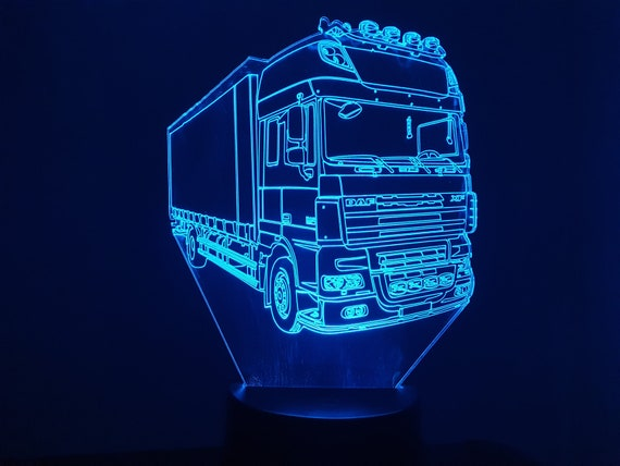 DAF XF carrier compatible design - 3D LED mood lamp, laser engraving on acrylic, battery power or USB cable