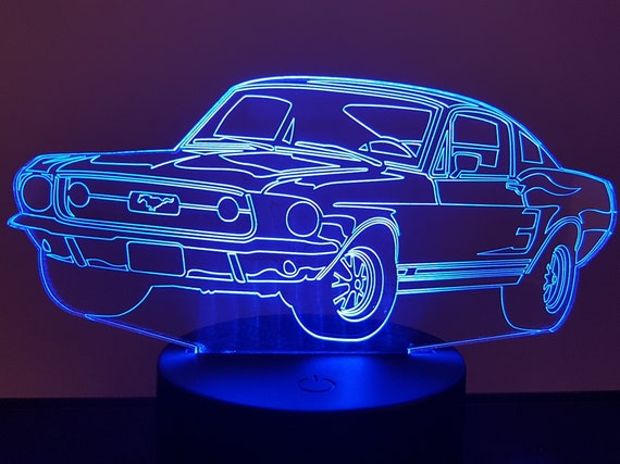 FORD MUSTANG - Mood lamp 3D led, laser engraving on acrylic, power by USB cable or batteries