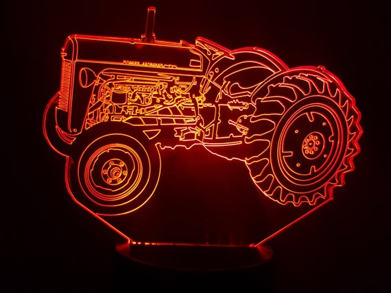 MASSEY Ferguson tractor 35 tiny grey - lamp 3D led, laser engraving on acrylic, usb cable or battery power.