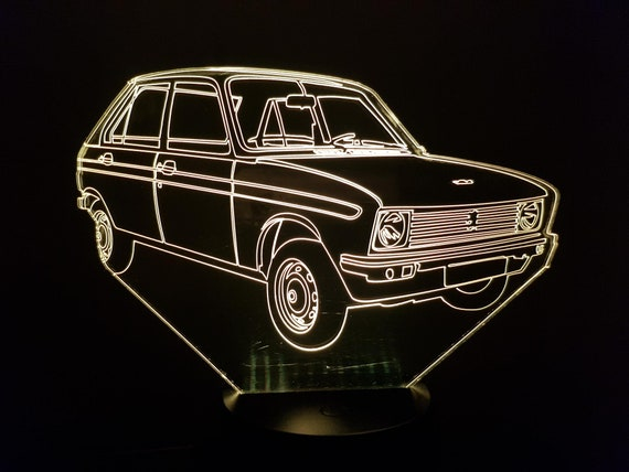 PEUGEOT 104 - Mood lamp 3D led, laser engraving on acrylic, power by USB cable or batteries