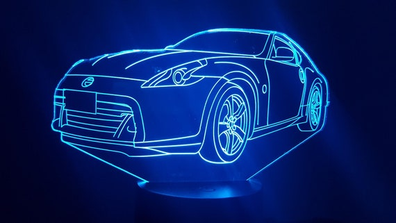 NISSAN 370Z - mood lamp 3D led, laser engraving on acrylic, power by USB cable or batteries