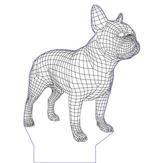 Lamp 3D design: french bulldog dog