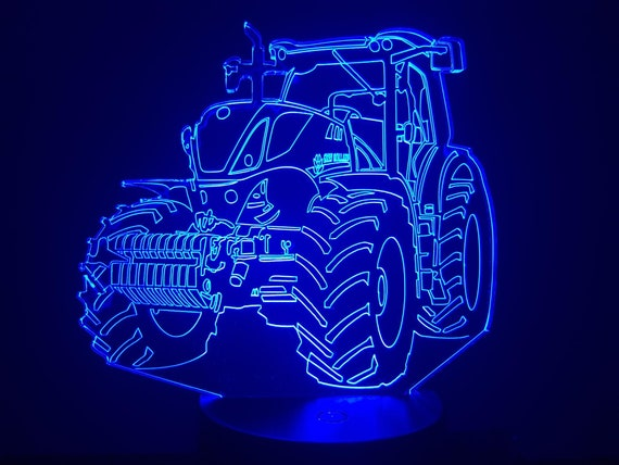 NEW HOLLAND tractor - Mood lamp 3D led, laser engraving on acrylic, usb cable or battery power.