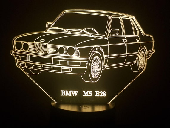 BMW M5 E28 - Mood lamp 3D led, laser engraving on acrylic, power by USB cable or batteries