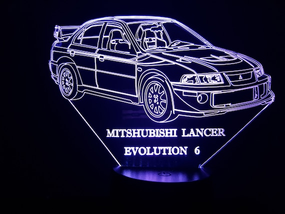 MITSUBISHI LANCER evolution 6 - mood lamp 3D led, laser engraving on acrylic, power by USB cable or batteries