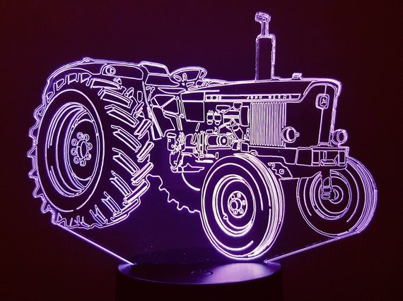 JOHN DEERE (Old) compatible design - 3D LED ambient lamp, laser engraving on acrylic, battery power or USB cable.