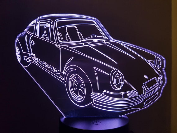 PORSCHE 911 Carrera RSR - Mood lamp 3D led, laser engraving on acrylic, power by USB cable or batteries