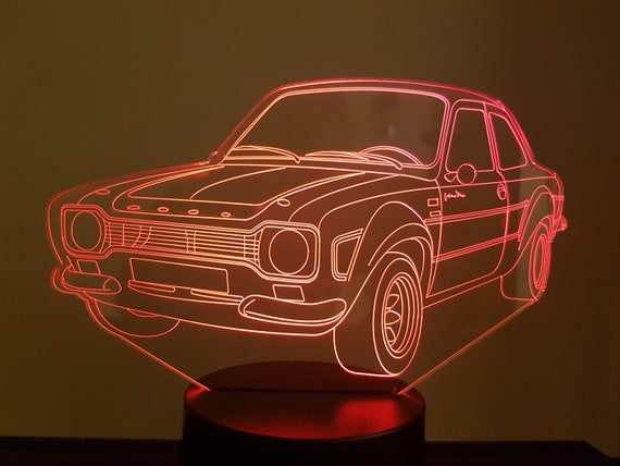 FORD ESCORT RS 2000 - Mood lamp 3D led, laser engraving on acrylic, usb cable or battery power.