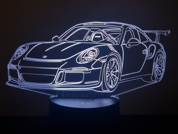 PORSCHE GT3 RS - Mood lamp 3D led, laser engraving on acrylic, power by USB cable or batteries