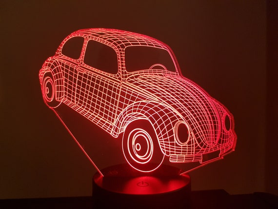 VOLKSWAGEN VW COX - Mood lamp 3D led, laser engraving on acrylic, usb cable or battery power.