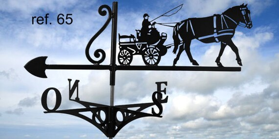 Weathervane with roof horse hitch