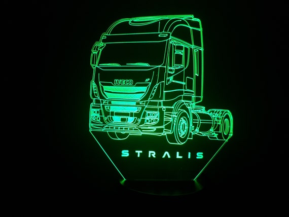 TRUCK IVECO STRALIS - Mood lamp 3D led, laser engraving on acrylic, usb cable or battery power.