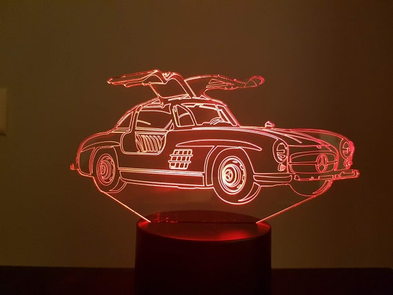MERCEDES 300 SL - 3D LED ambient lamp, laser engraving on acrylic, battery power or USB cable