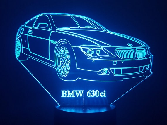 BMW 630-lamp 3D led, laser engraving on acrylic, power by USB cable or batteries