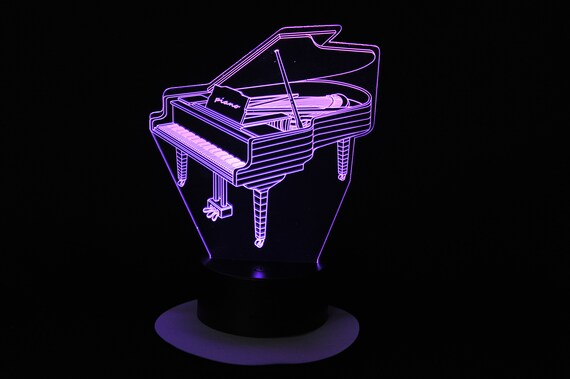Mood lamp 3D led PIANO, laser engraving on acrylic, power by USB cable or batteries