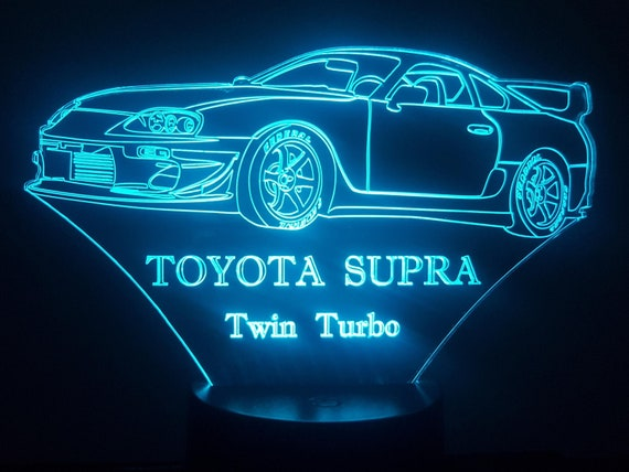 TOYOTA Supra Twin Turbo - lamp 3D led, laser engraving on acrylic, power by USB cable or batteries