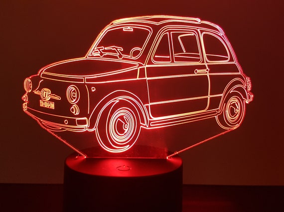 FIAT 500 - Mood lamp 3D led, laser engraving on acrylic, usb cable or battery power.