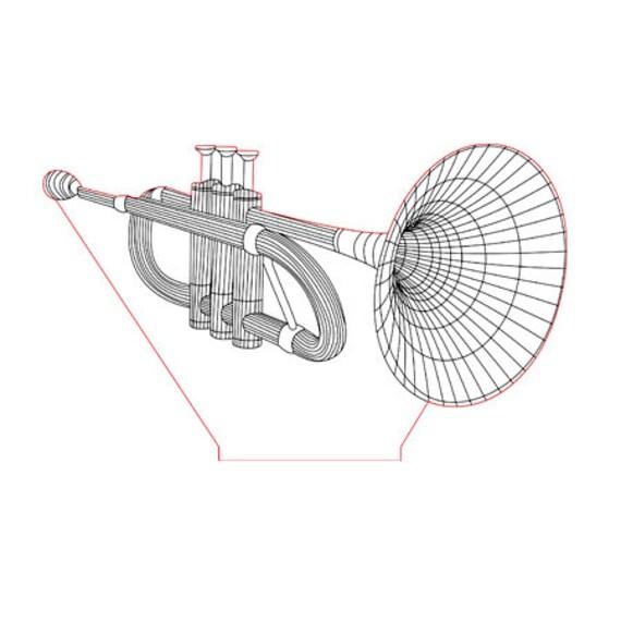 Lamp 3D pattern: trumpet