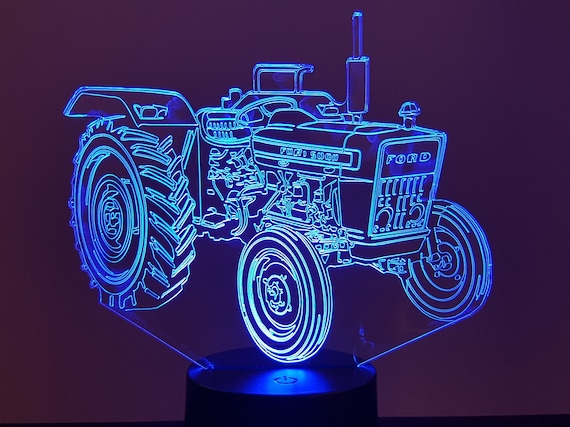 FORD tractor - Mood lamp 3D led, laser engraving on acrylic, power by USB cable or batteries