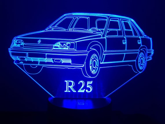 RENAULT R25 - Mood lamp 3D led, laser engraving on acrylic, power by USB cable or batteries