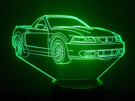 FORD MUSTANG convertible - Mood lamp 3D led, laser engraving on acrylic, power by USB cable or batteries