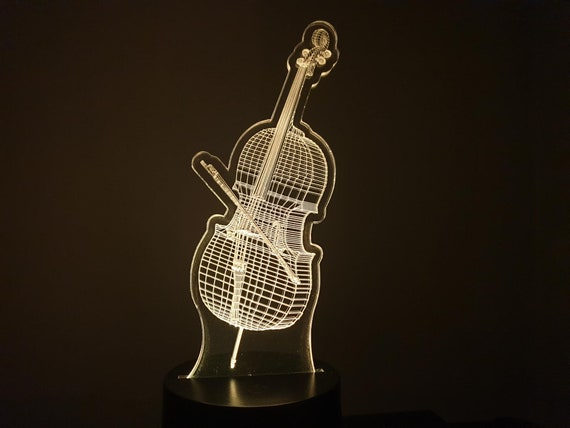 CELLO-led 3D ambient lamp, laser engraving on acrylic, battery power or USB cable.
