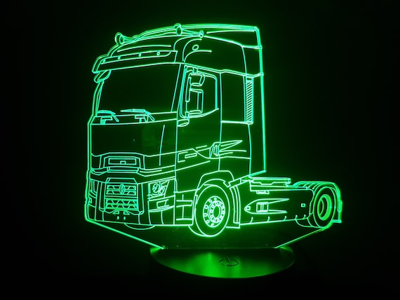 RENAULT MAGNUM truck - Mood lamp 3D led, laser engraving on acrylic, usb cable or battery power.