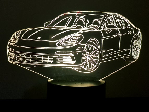 PORSCHE PANAMERA - Mood lamp 3D led, laser engraving on acrylic, power by USB cable or batteries