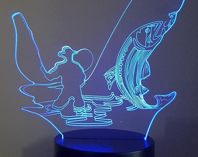 Lamp 3D motif: fisherman