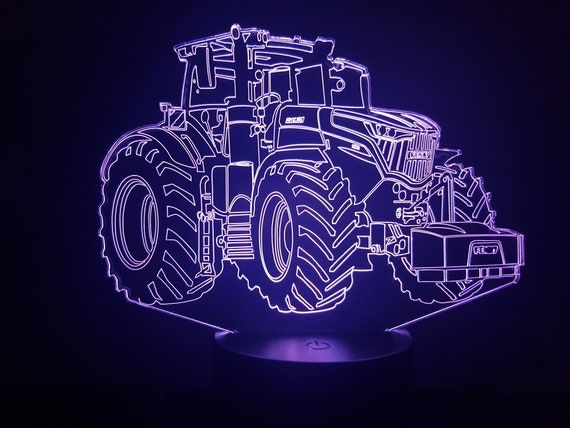 TRACTOR FENDT - Mood lamp 3D led, laser engraving on acrylic, usb cable or battery power.