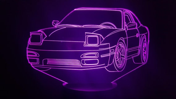 Nissan 240 SX - Mood lamp 3D led, laser engraving on acrylic, power by USB cable or batteries