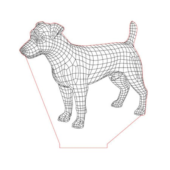 Lamp 3D pattern: dog Russell terrier