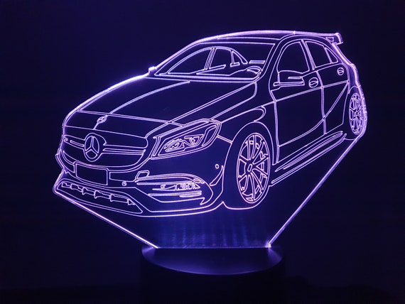 MERCEDES AMG A45 - 3D LED ambient lamp, laser engraving on acrylic, battery power or USB cable