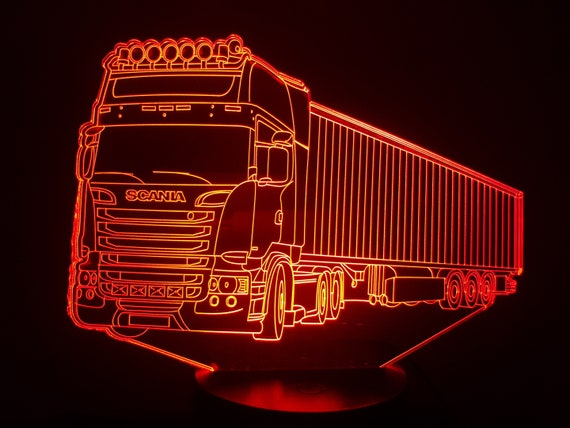 "TRUCK ""Scania"" (3) - mood lamp 3D led, laser engraving on acrylic, usb cable or battery power."