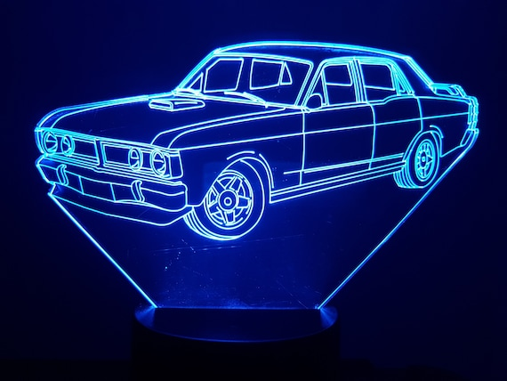 FORD FALCON XY GT-led 3D ambient lamp, laser engraving on acrylic, battery power or USB cable.