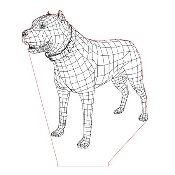 Lamp 3D pattern: dog Staford