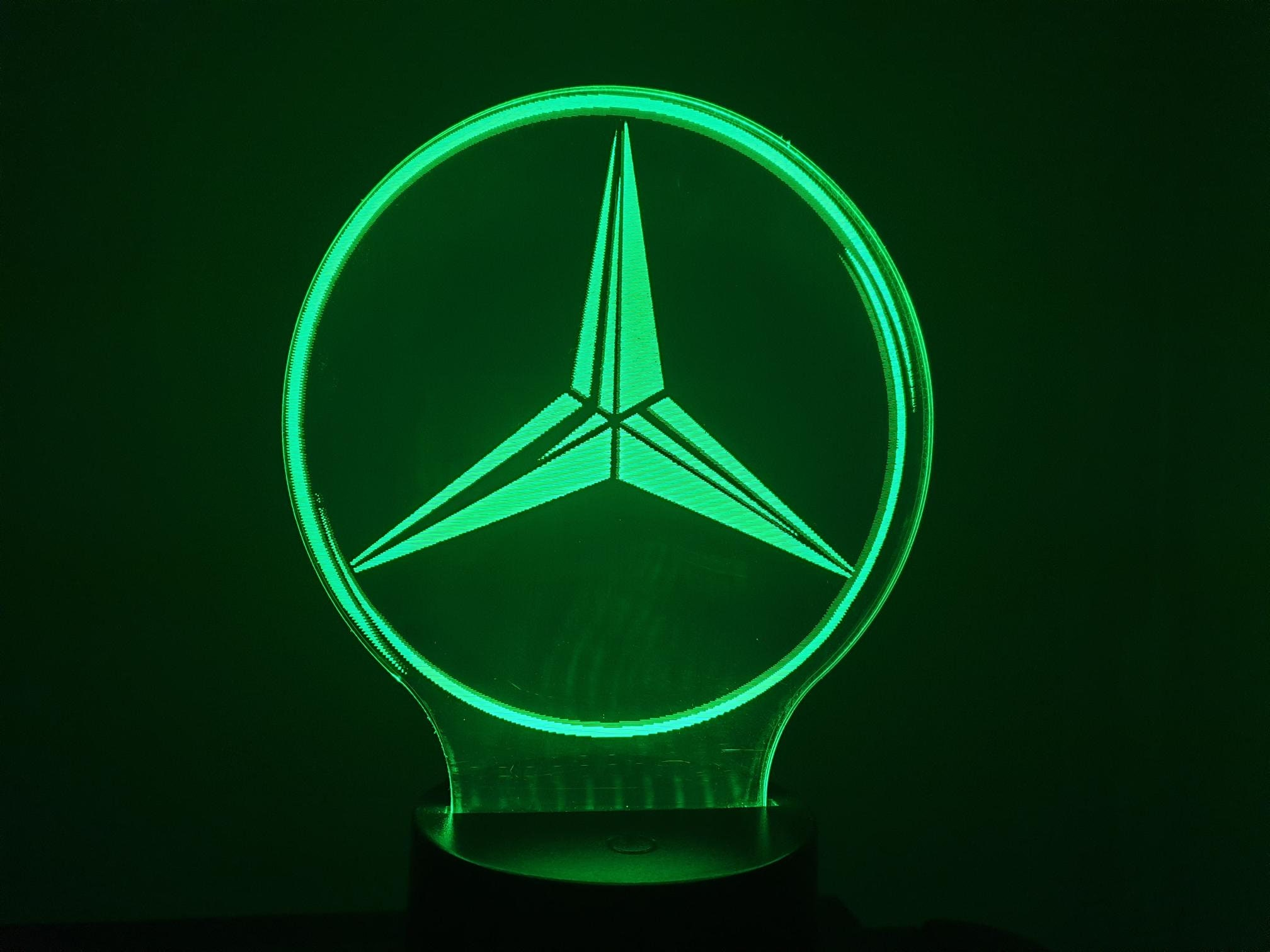 MERCEDES (L)-led 3D ambient lamp, laser engraving on acrylic