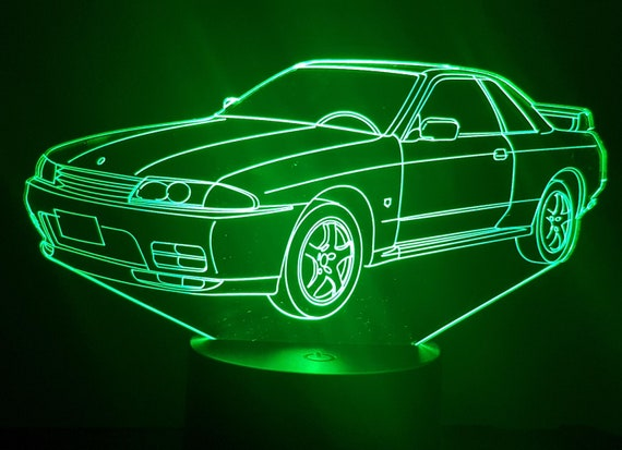 Nissan GTR 32 - Mood lamp 3D led, laser engraving on acrylic, power by USB cable or batteries