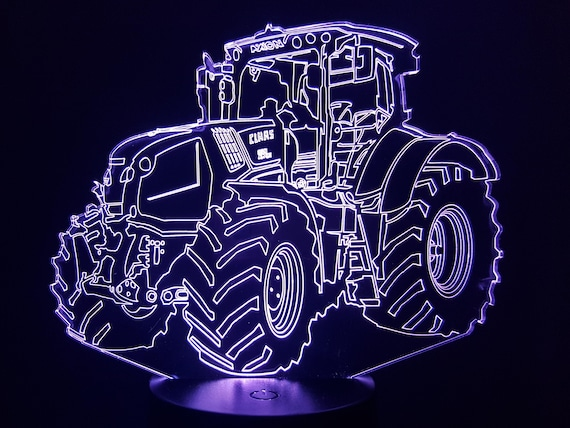 TRACTOR CLASS - Mood lamp 3D led, laser engraving on acrylic, usb cable or battery power.