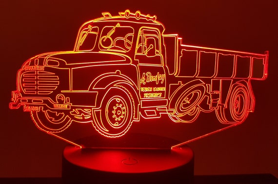 TRUCK WILLÈMES - Mood lamp 3D led, laser engraving on acrylic, power by USB cable or batteries