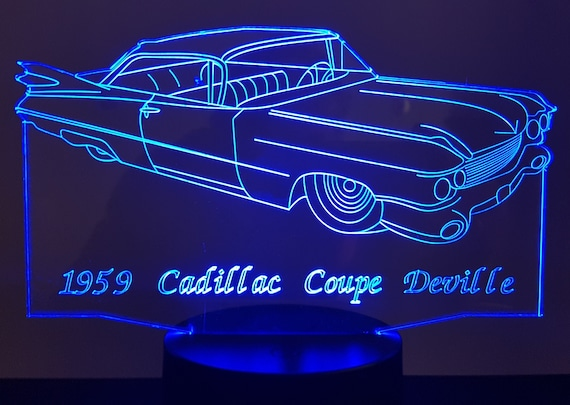 CADILLAC DEVILLE 1959 Cup - Mood lamp 3D led, laser engraving on acrylic, usb cable or battery power.
