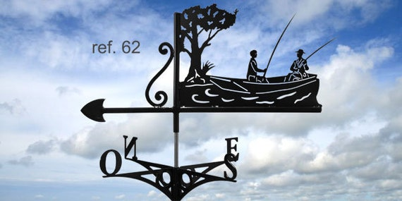 Weathervane with roof fishing boat