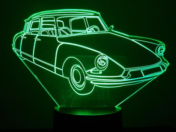 Citroen DS 19 - Mood lamp 3D led, laser engraving on acrylic, power by USB cable or batteries