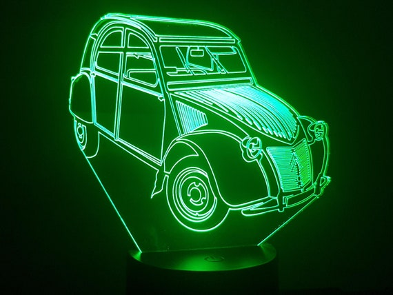 Citroen 2CV AZ - mood lamp 3D led, laser engraving on acrylic, power by USB cable or batteries